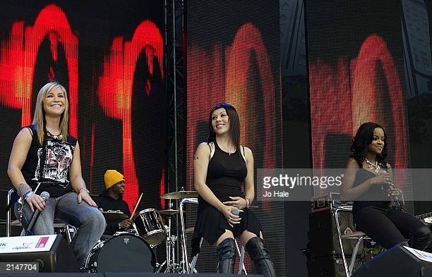 Sugababes pop group perform live on stage at the Capital FM Princes Trust 'Party in the Park' on July 7 2003 at Hyde Park in London