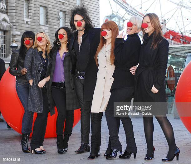 SugababesRussell Brand and Girls Aloud attend a photocall for Comic Relief's 'Red Nose Day' at London Eye