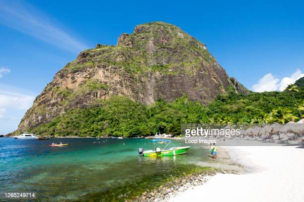 Sugar Beach with a backdrop of the Pitons in St Lucia.