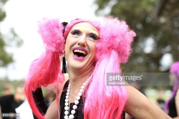 Sugar Cane AKA Brett Paradise poses during preparations for the annual Little Black Dress run at Centennial Park on February 26 2017 in Sydney...