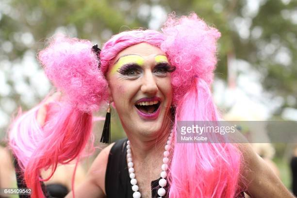 Sugar Cane AKA Brett Paradise poses during preparations for the annual Little Black Dress run at Centennial Park on February 26 2017 in Sydney...