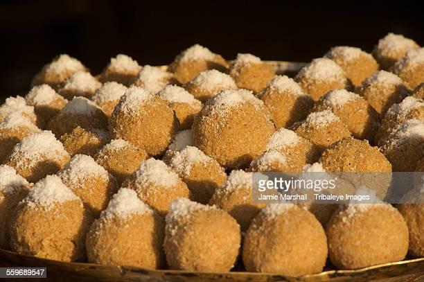 Sugar coated snacks for sale at Pushkar market
