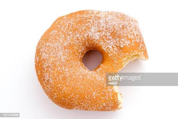 Azúcar rosquilla Vista de alto ángulo bocado faltante