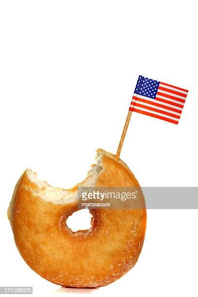 Sugar donut with American flag