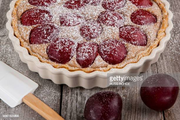 sugar dusted plum and cinnamon tart - plum stock pictures, royalty-free photos & images
