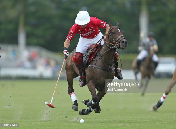 Sugar Erskine of Coca Cola brings the ball up field against SD Farms during the Joe Barry Cup on January 21 2018 at the International Polo Club in...