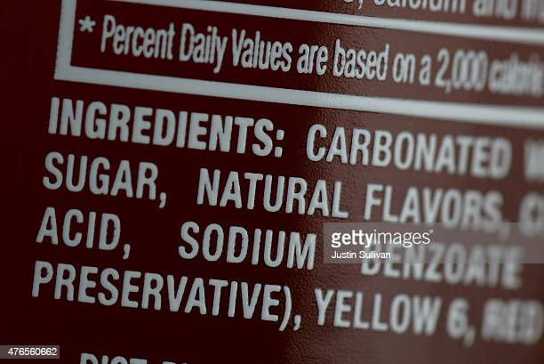 Sugar is listed in the ingredients of a bottle of soda that is displayed in a cooler of a food truck on June 10 2015 in San Francisco California The...
