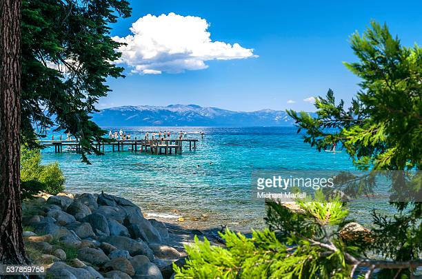 sugar pine point pier - lake tahoe stock photos and pictures