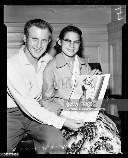 Sugar Ray' dog lost from baggage car on Southern Pacific train found in Oakland hotel 10 February 1957 MR and Mrs AL Newcomer Dog 'Sugar Ray'Caption...