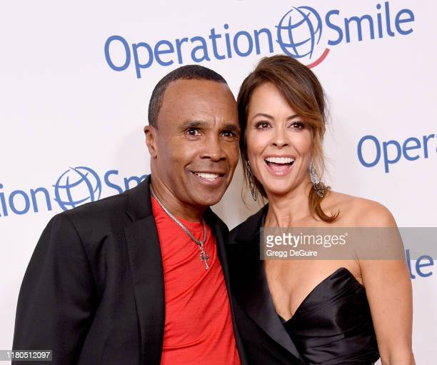 Sugar Ray Leonard and Brooke Burke arrive at Operation Smile's Hollywood Fight Night at The Beverly Hilton Hotel on November 6, 2019 in Beverly...