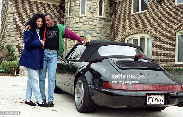 Sugar Ray Leonard and his wife Juanita Wilkinson pose outside their house in Palmer Park Maryland