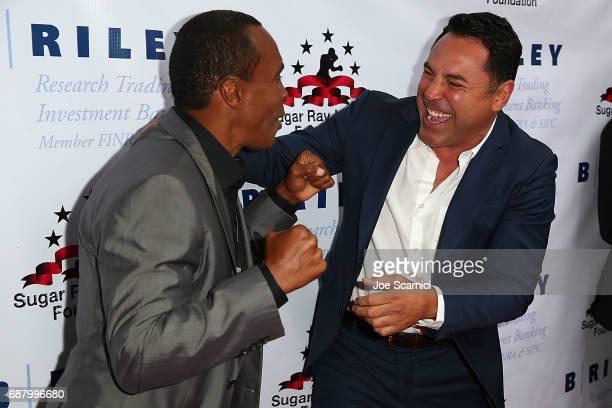 Sugar Ray Leonard and Oscar De La Hoya attend the 8th Annual Big Fighters Big Cause Charity Boxing Night at the Loews Santa Monica Beach Hotel on May...