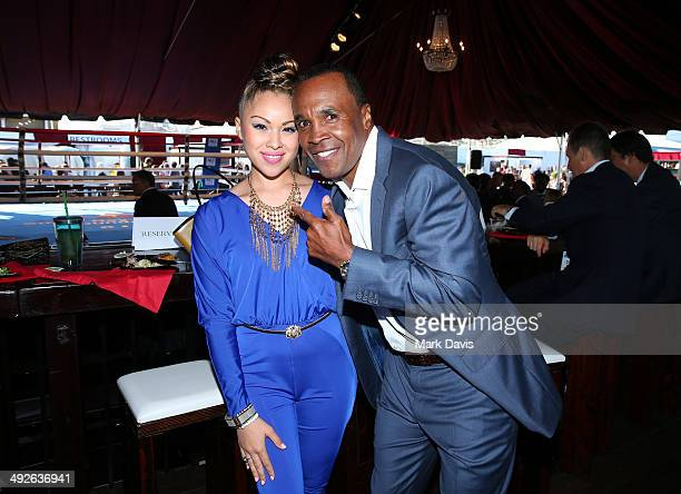 Sugar Ray Leonard and singer Ava Johnson attends the B Riley Co and Sugar Ray Leonard Foundation's 5th Annual Big Fighters Big Cause Charity Boxing...