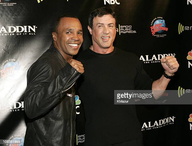 Sugar Ray Leonard and Sylvester Stallone during 2004 Radio Music Awards Backstage at Aladdin Hotel in Las Vegas Nevada United States