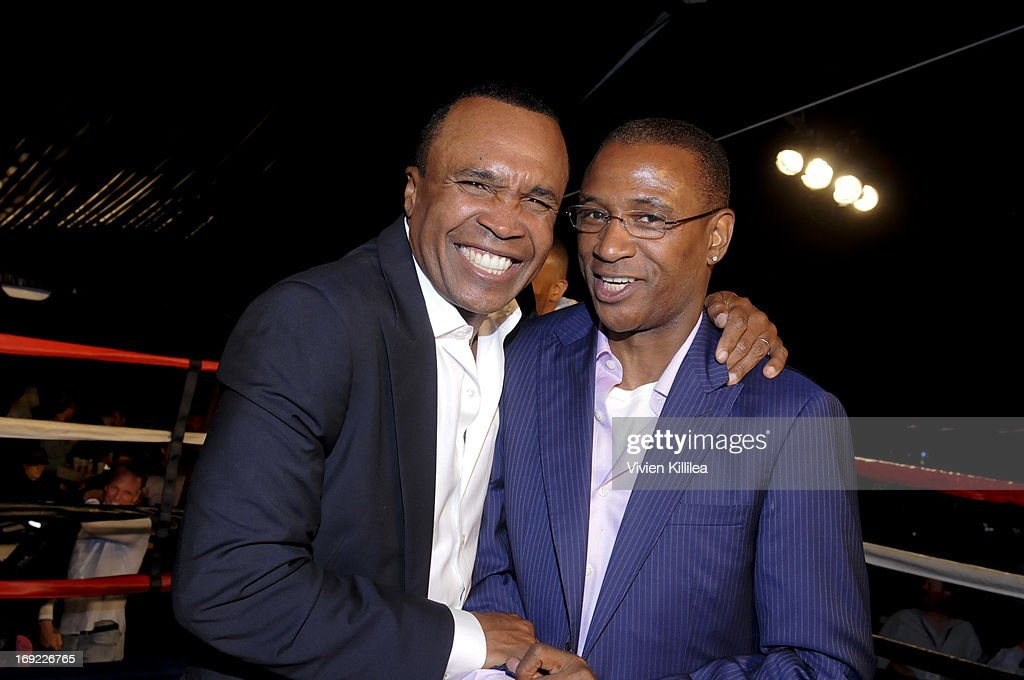 Sugar Ray Leonard and Tommy Davidson attend B. Riley & Co. & The Sugar Ray Leonard Foundation Present The 4th Annual 'Big Fighters, Big Cause' Charity Fight Night To Benefit Juvenile Diabetes at Santa Monica Pier on May 21, 2013 in Santa Monica, California.