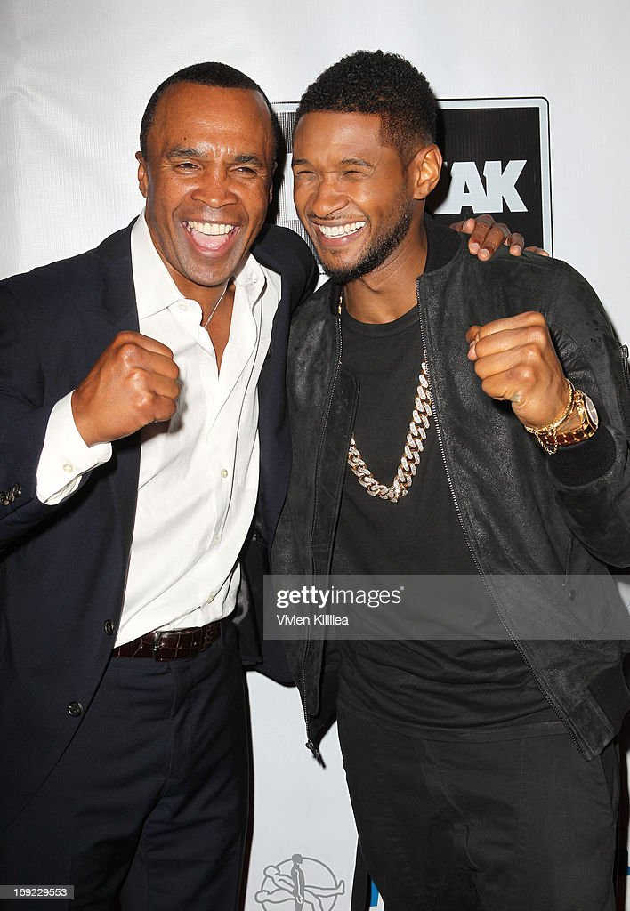 Sugar Ray Leonard and Usher attend B. Riley & Co. & The Sugar Ray Leonard Foundation Present The 4th Annual 'Big Fighters, Big Cause' Charity Fight Night To Benefit Juvenile Diabetes at Santa Monica Pier on May 21, 2013 in Santa Monica, California.