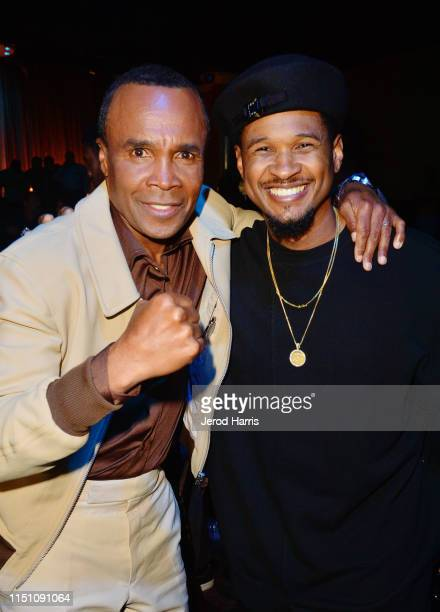 Sugar Ray Leonard and Usher attend Sugar Ray Leonard Foundation's 10th Annual 'Big Fighters Big Cause' Charity Boxing Night Presented by B Riley FBR...