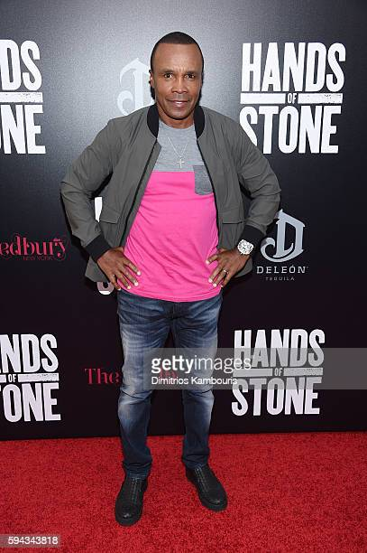 Sugar Ray Leonard attends the 'Hands Of Stone' US premiere at SVA Theater on August 22 2016 in New York City