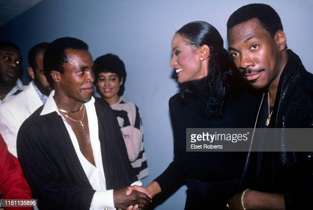 Sugar Ray Leonard, Beverly Johnson and Eddie Murphy at the premiere for the Fat Boys 'Disorderlies' movie in New York City on August 13, 1987.