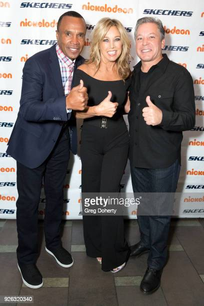 Sugar Ray Leonard Denise Austin and Michael Greenberg attend the 9th Annual SKECHERS Pier To Pier Friendship Walk Evening Of Celebration And Check...