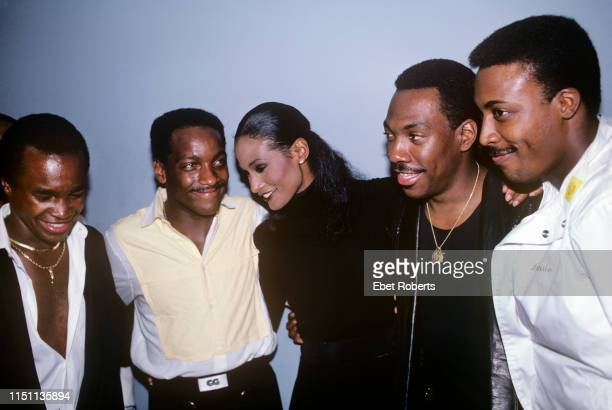 Sugar Ray Leonard, Donnie Simpson, Beverly Johnson, Eddie Murphy and Arsenio Hall at the premiere for the Fat Boys 'Disorderlies' movie in New York...