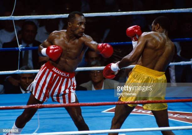 Sugar Ray Leonard during the WBC and WBO World Super Middleweight Championship title fight against Thomas Hearns at Caesars Palace in Las Vegas, 12th...
