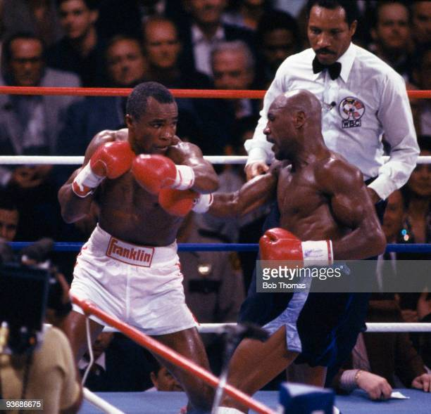 Sugar Ray Leonard in action against Marvin Hagler for the WBC World Middleweight Championship in Las Vegas, 6th April 1987. Sugar Ray Leonard won on...