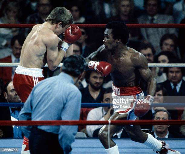 Sugar Ray Leonard in action during his victory over Britain's Dave Boy Green for the WBC World Welterweight Championship at the Capital Centre in...