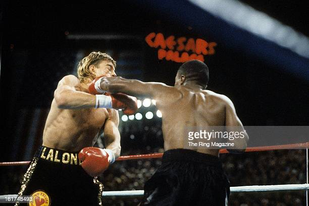 Sugar Ray Leonard lands a punch against Donny Lalonde during the fight at Caesars Palace in Las Vegas, Nevada. Sugar Ray Leonard won the WBC light...