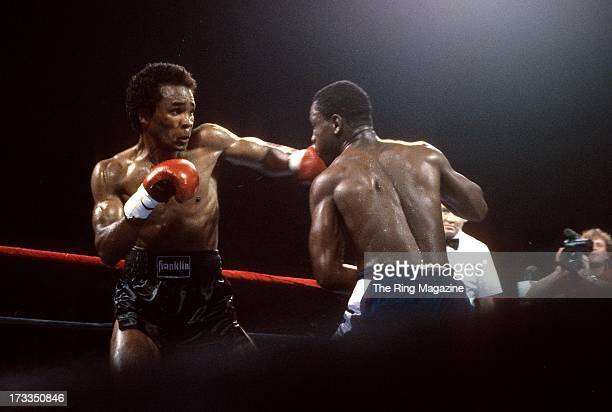 Sugar Ray Leonard lands a punch against Kevin Howard during the fight at the DCU Center in Worcester, Massachusetts. Sugar Ray Leonard won by a TKO 9.