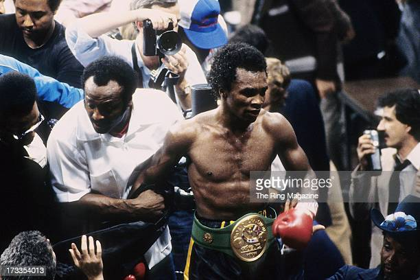 Sugar Ray Leonard leaves the ring with his belt on after winning the fight against Roberto Duran at the Superdome in New Orleans, Louisiana. Sugar...