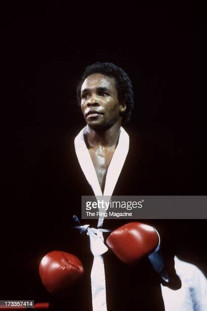 Sugar Ray Leonard looks on before the fight against Kevin Howard at the DCU Center in Worcester, Massachusetts. Sugar Ray Leonard won by a TKO 9.