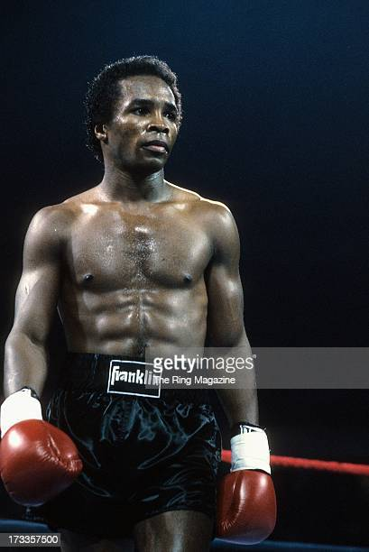 Sugar Ray Leonard looks on during against Kevin Howard at the DCU Center in Worcester, Massachusetts. Sugar Ray Leonard won by a TKO 9.