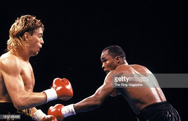 Sugar Ray Leonard looks to land a punch against Donny Lalonde during the fight at Caesars Palace in Las Vegas, Nevada. Sugar Ray Leonard won the WBC...