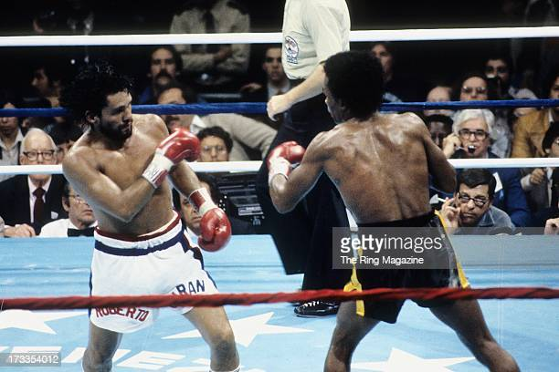 Sugar Ray Leonard looks to throw a punch against Roberto Duran during the fight at the Superdome in New Orleans, Louisiana. Sugar Ray Leonard won the...