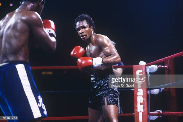 Sugar Ray Leonard moves in to punch against his opponent circa that 1970's during a bout.