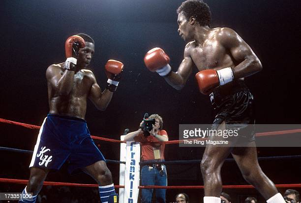 Sugar Ray Leonard moves to throw a punch against Kevin Howard during the fight at the DCU Center in Worcester Massachusetts Sugar Ray Leonard won by...