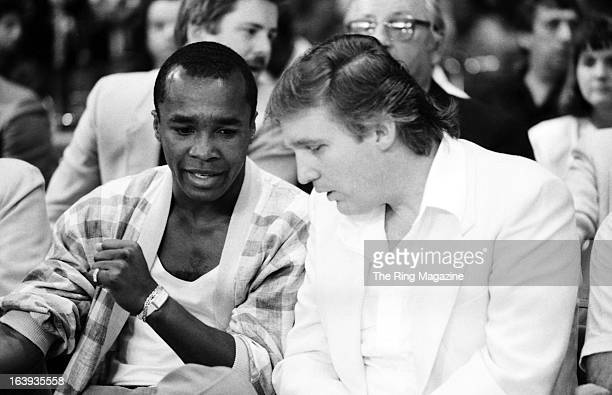 Sugar Ray Leonard talks with Donald Trump before the fight between Mike Tyson and Michael Spinks at the Convention Hall on June 27 1988 in Atlantic...