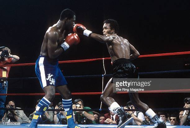 Sugar Ray Leonard throws a punch against Kevin Howard during the fight at the DCU Center in Worcester Massachusetts Sugar Ray Leonard won by a TKO 9
