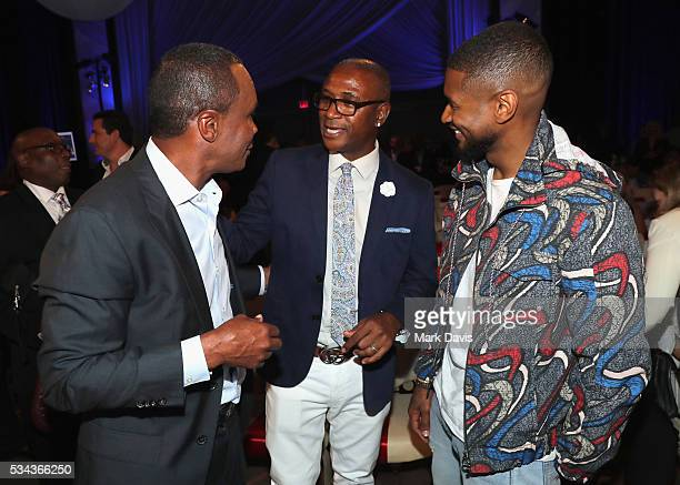 Sugar Ray Leonard Tommy Davidson and Usher attend B Riley Co and Sugar Ray Leonard Foundation's 7th Annual Big Fighters Big Cause Charity Boxing...