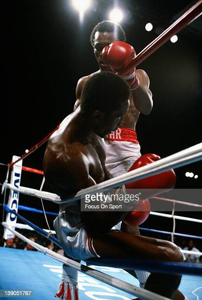 Sugar Ray Leonard top fights Thomas Hearns bottom in a scheduled fifteen round WBC WBA welterweight unification title fight on September 16 1981 at...