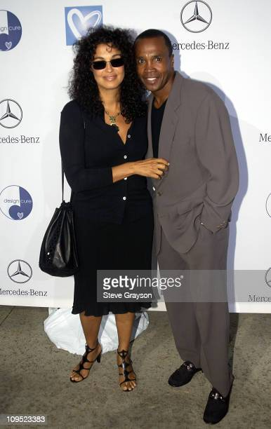 Sugar Ray Leonard wife during Holly Robinson Peete Rodney Peete and Mercedes Benz Honor Muhammad Ali With The Designcure Award of Courage at Private...