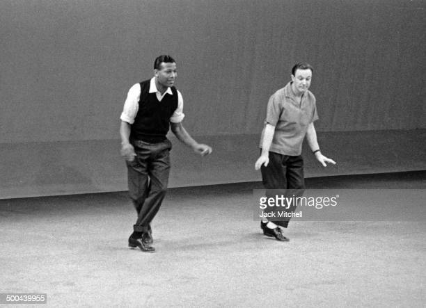 Sugar Ray Robinson and Mickey Mantle rehearsing 'Dancing A Man's Game' for an NBCTV Omnibus program broadcast in 1958