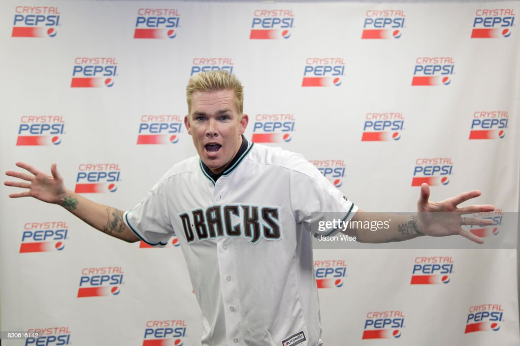Sugar Ray's Mark McGRath poses for photos prior to the baseball game at Chase Field on August 11, 2017 in Phoenix, Arizona.