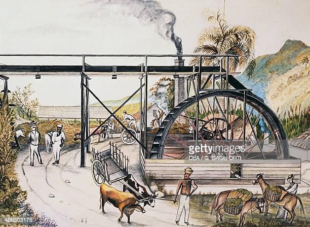 Sugar refinery in Guinea watercolour 20th century