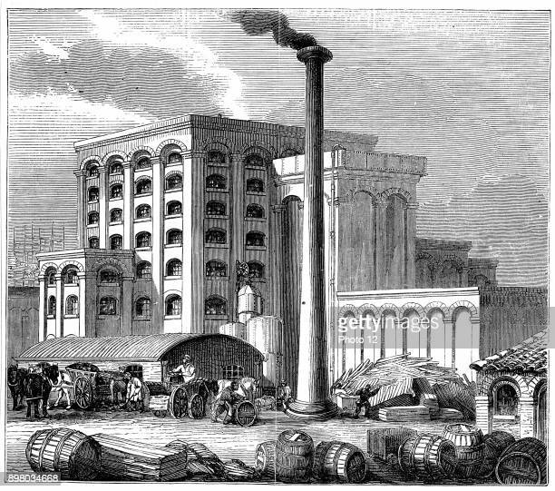 Sugar refinery Southampton England opened 1851 Boiler house left foreground engine house centre left Stove and retort house centre centre right Right...