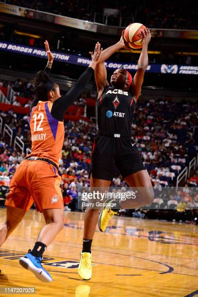 Sugar Rodgers of Las Vegas Aces shoots the ball during the game against Briann January of Phoenix Mercury on May 31 2019 at the Talking Stick Resort...