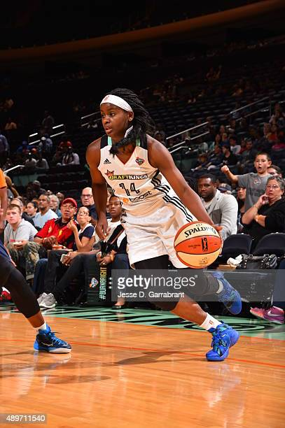 Sugar Rodgers of the New York Liberty drives baseline against the Indiana Fever during game One of the WNBA Eastern Conference Finals at Madison...