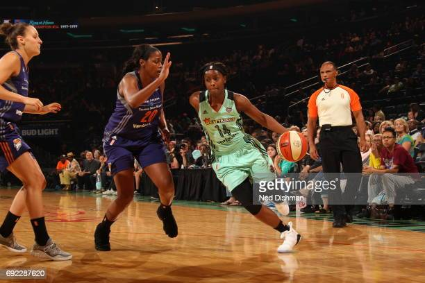 Sugar Rodgers of the New York Liberty drives to the basket against the Phoenix Mercury on June 4 2017 at Madison Square Garden in New York New York...
