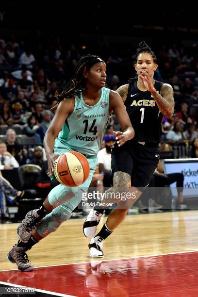 Sugar Rodgers of the New York Liberty handles the ball against the Las Vegas Aces on August 15 2018 at the Allstate Arena in Chicago Illinois NOTE TO...